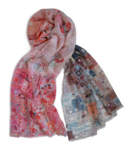 colorful soft wool painterly scarf