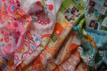 Colorful, playful, silk scarf
