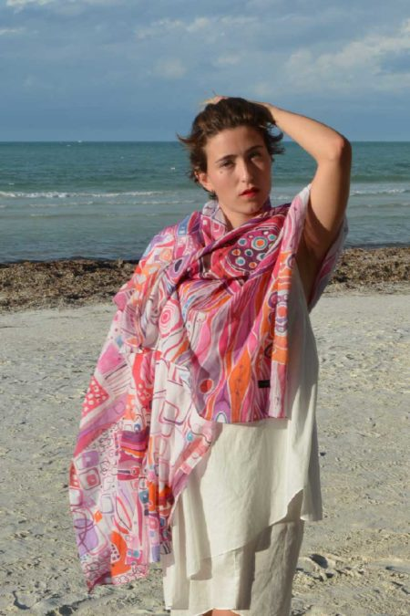 Red, playful, cotton scarf