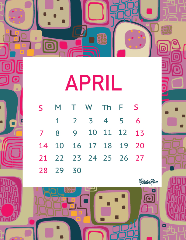 Free downloadable April calendar