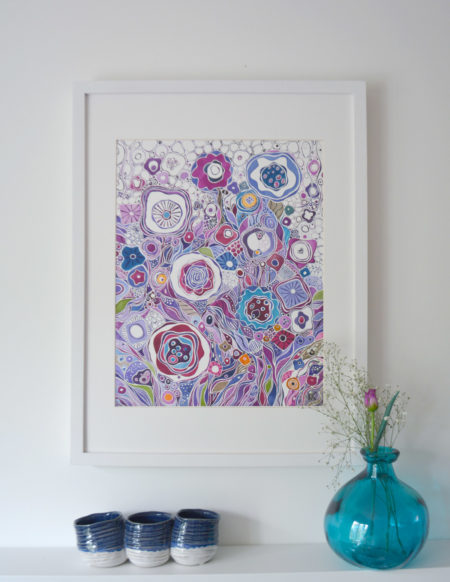 Limited edition of a watercolor painting of purple flowers
